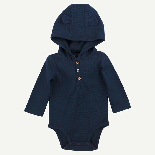 Oliver & Rain Oliver & Rain | Organic Cotton Navy Hooded Bodysuit