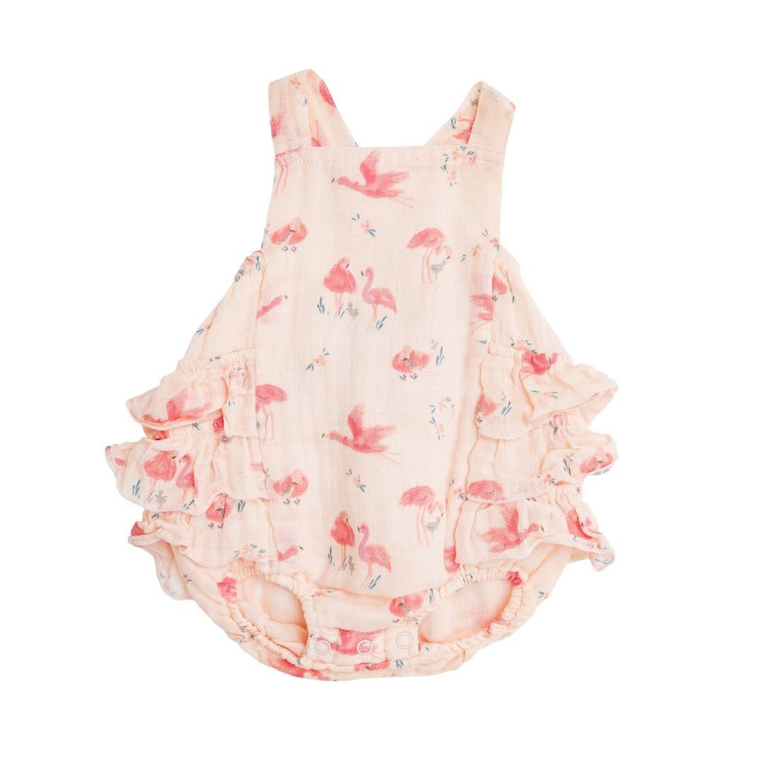 Angel Dear Angel Dear | Flamingo Ruffle Sunsuit Pink