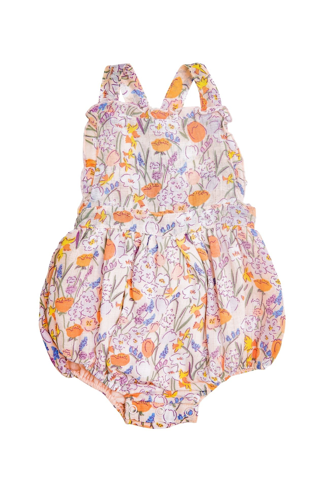 Angel Dear Angel Dear | Springtime Floral Ruffle Sunsuit