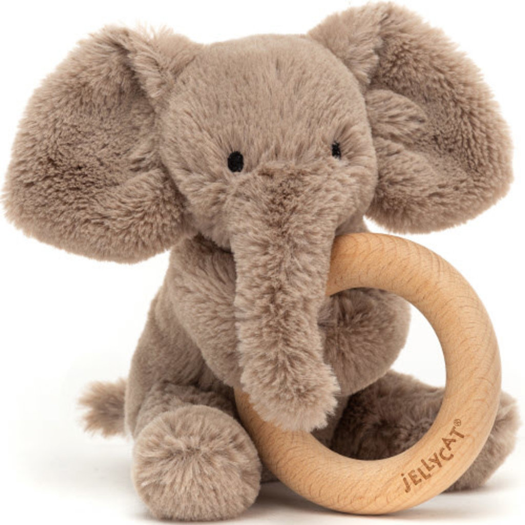 JellyCat Jellycat | Smudge Elephant Wooden Ring Rattle