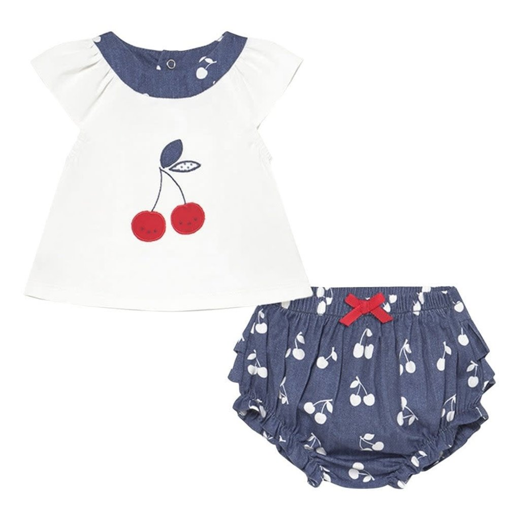 Mayoral Mayoral | Cherry Blue and White Set