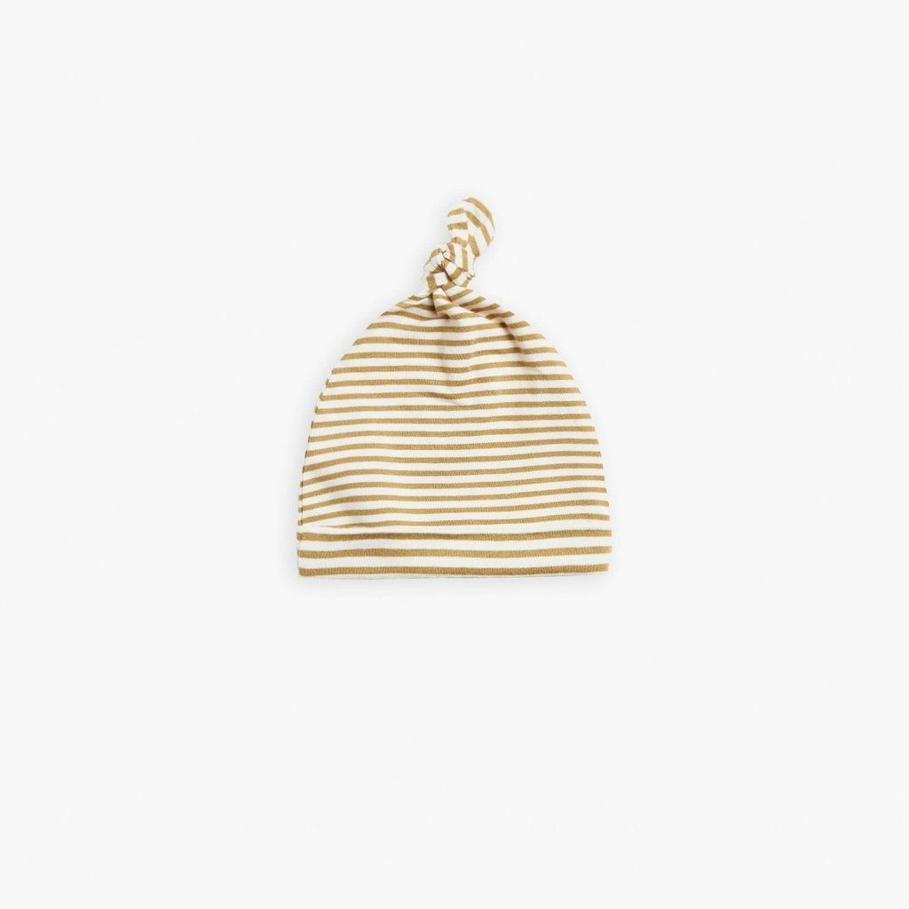 Quincy Mae Quincy Mae   Knotted Hat Gold Stripe   0-6 Mos