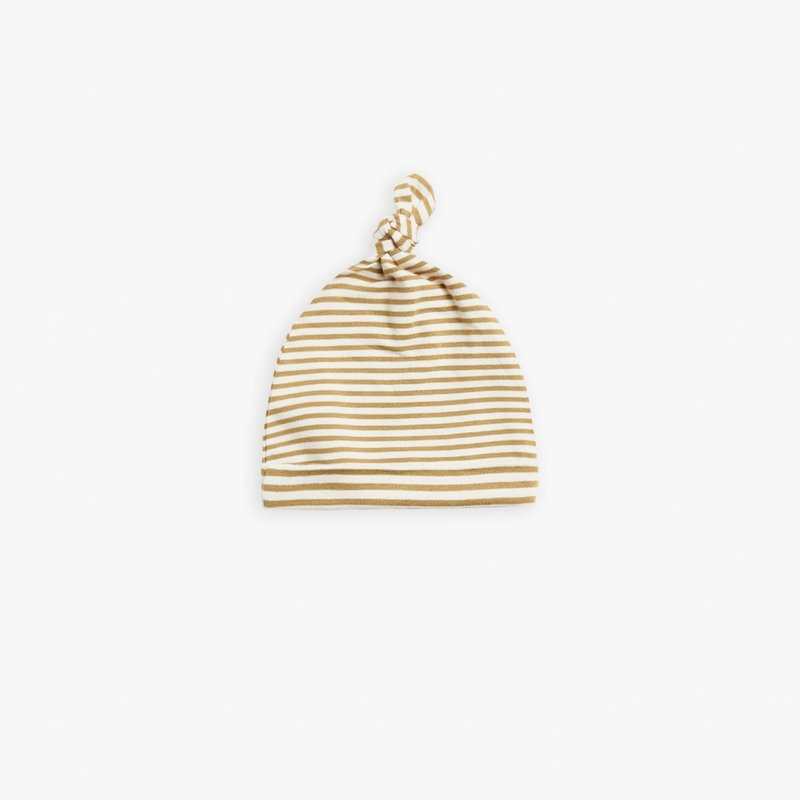 Quincy Mae Quincy Mae | Knotted Hat Gold Stripe | 0-6 Mos