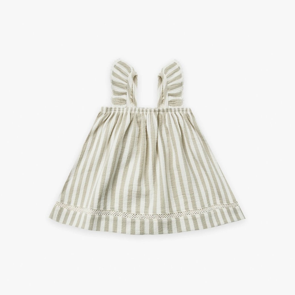 Quincy Mae Quincy Mae | Woven Ruffle Dress Sage Stripe