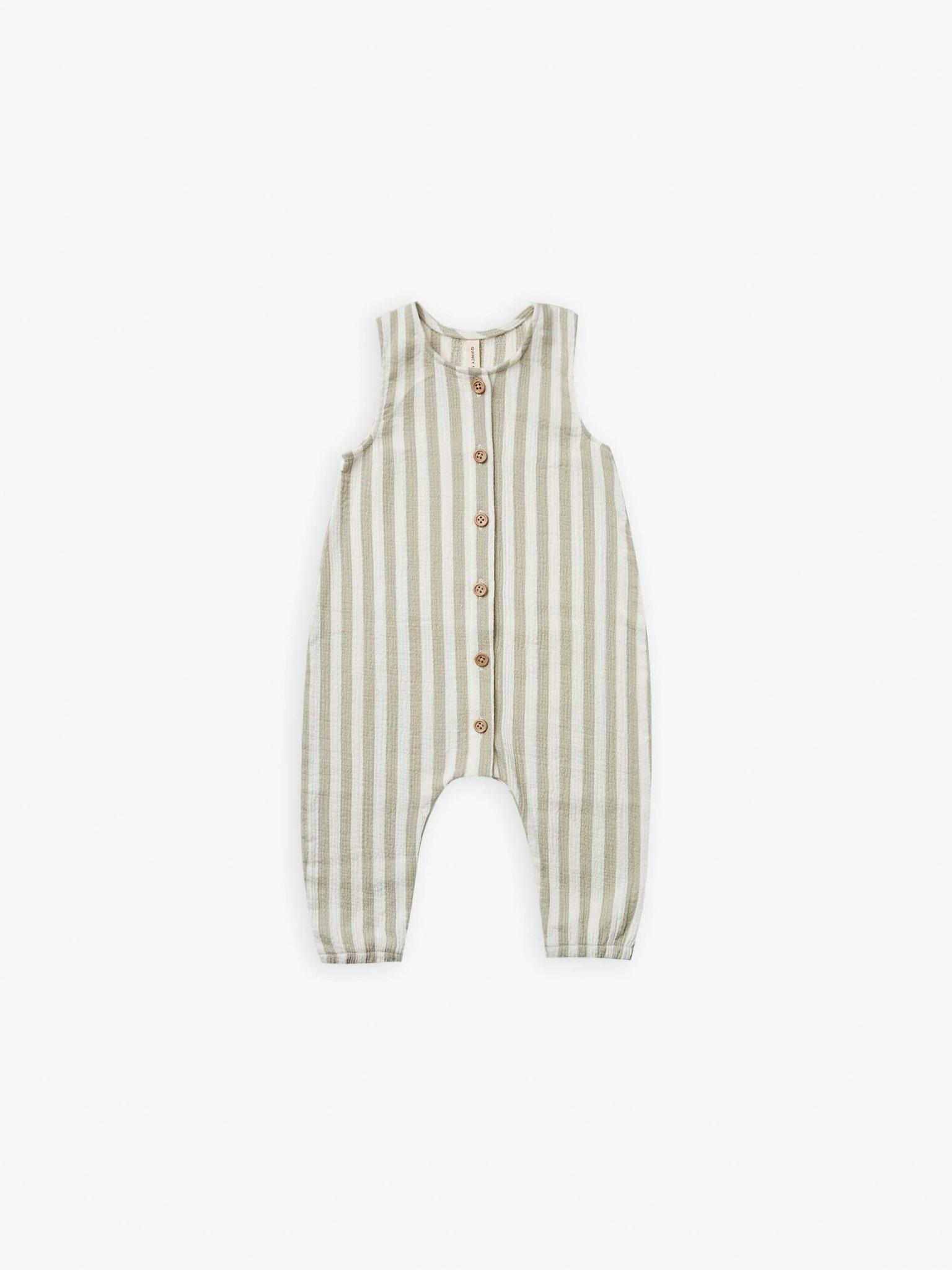 Quincy Mae Quincy Mae | Woven Button Jumpsuit Sage Stripe