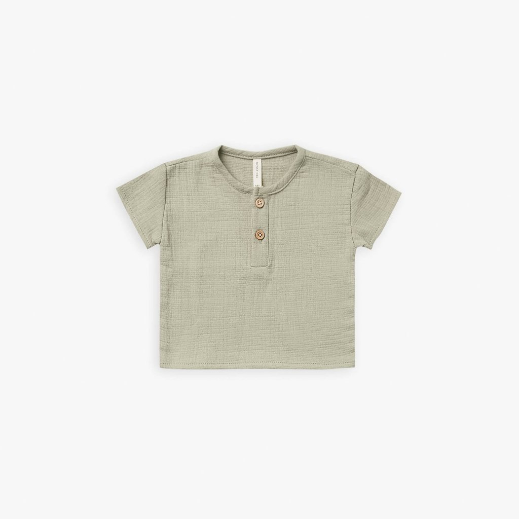Quincy Mae Quincy Mae   Woven Henry Top Sage