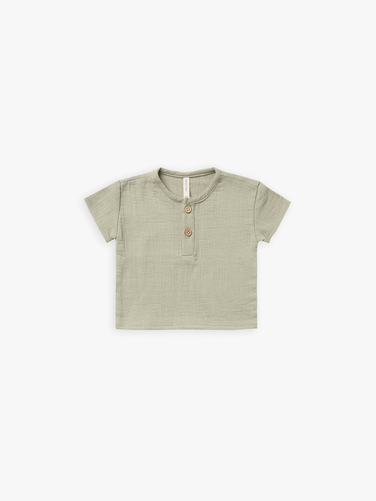 Quincy Mae Quincy Mae | Woven Henry Top Sage