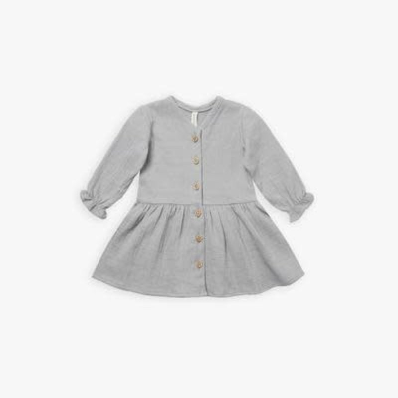 Quincy Mae Quincy Mae | Long Sleeve Gauze Dress Periwinkle