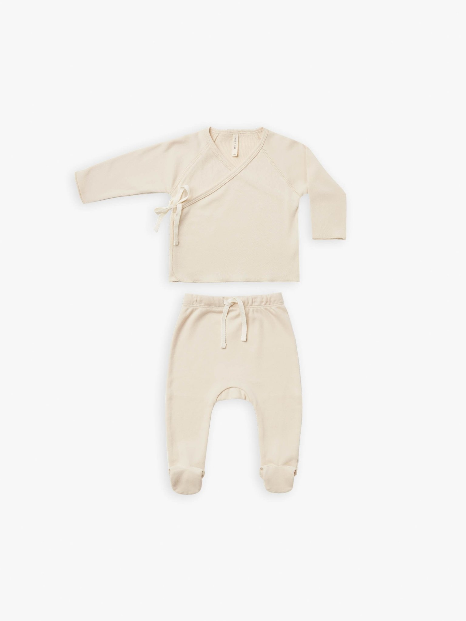 Quincy Mae Quincy Mae | Wrap Top + Pant Set Natural