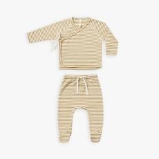 Quincy Mae Quincy Mae | Wrap Top + Pant Set Gold Stripe