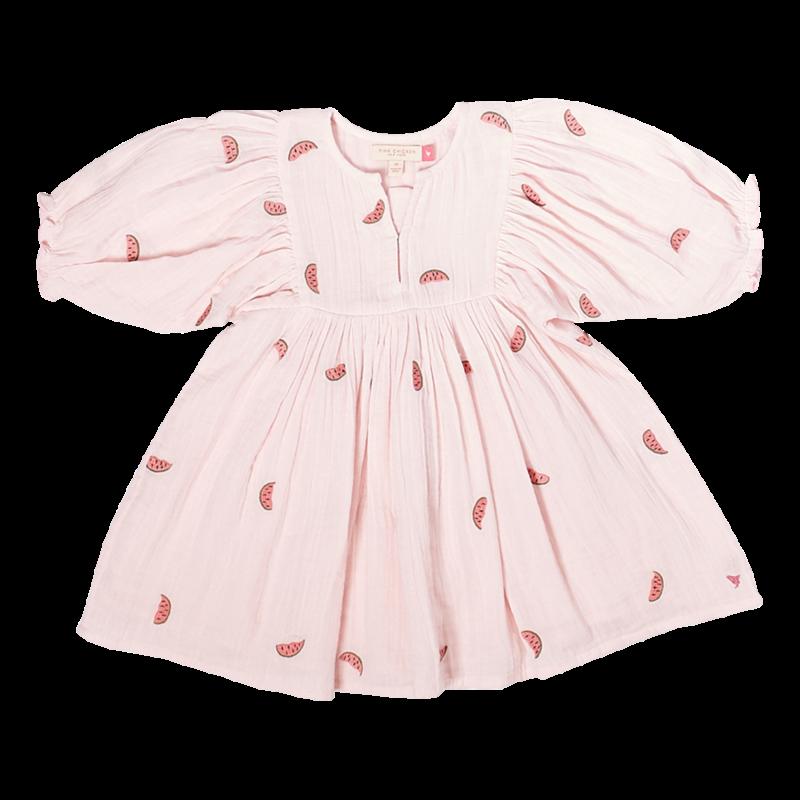 PINK CHICKEN Pink Chicken | Ava Bella Dress Watermelon Embroidery Pink