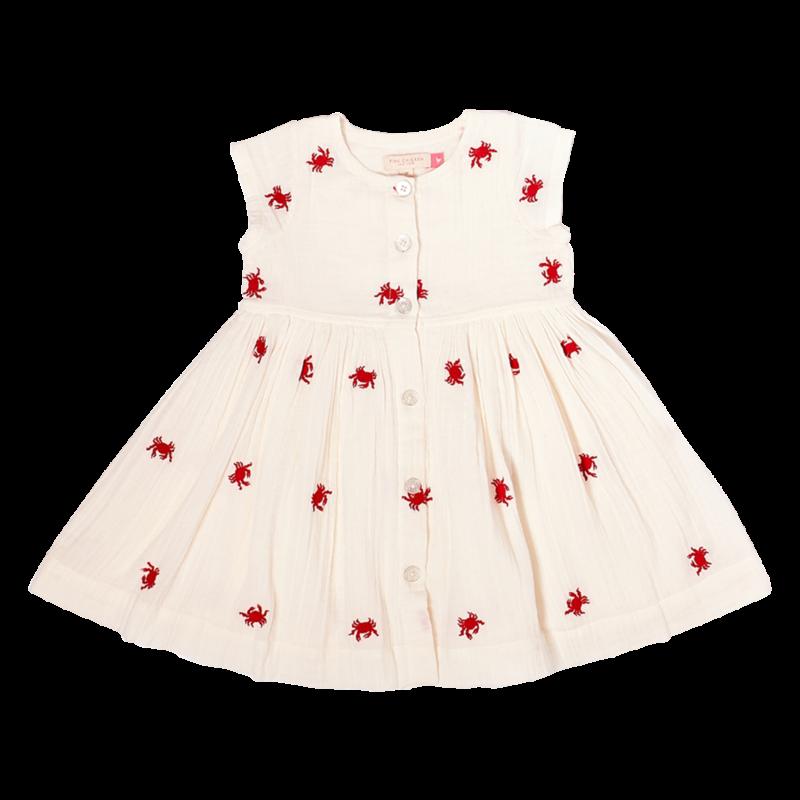 PINK CHICKEN Pink Chicken | Winnie Dress Embroidered Crabs