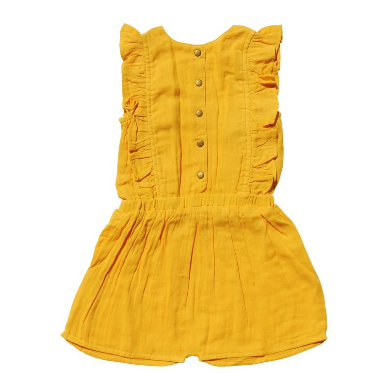 L'oved Baby L'oved Baby | Organic Muslin Ruffle Bodysuit Saffron