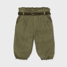 Mayoral Mayoral | Baby Girl Paperbag Pant w/ Belt Utility Green
