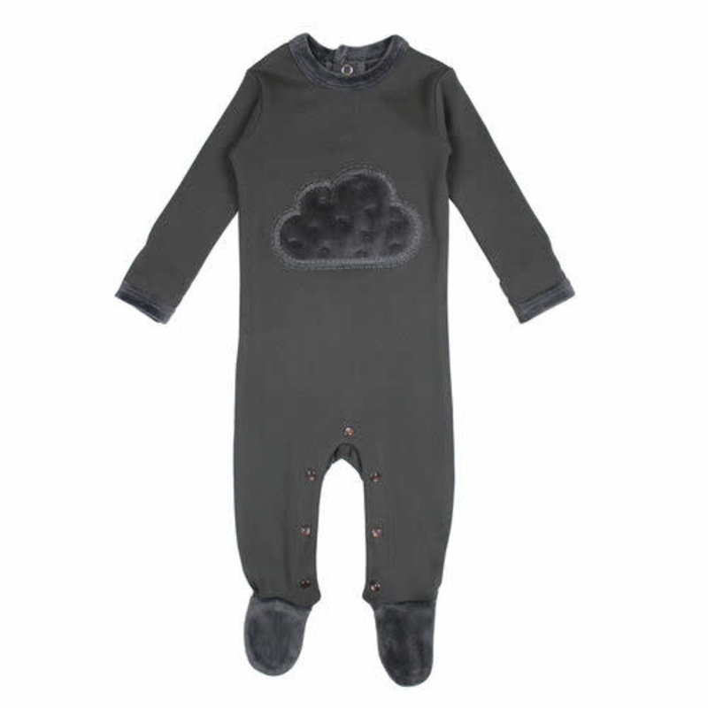 L'oved Baby L'oved Baby | Velveteen Graphic Footie Gray