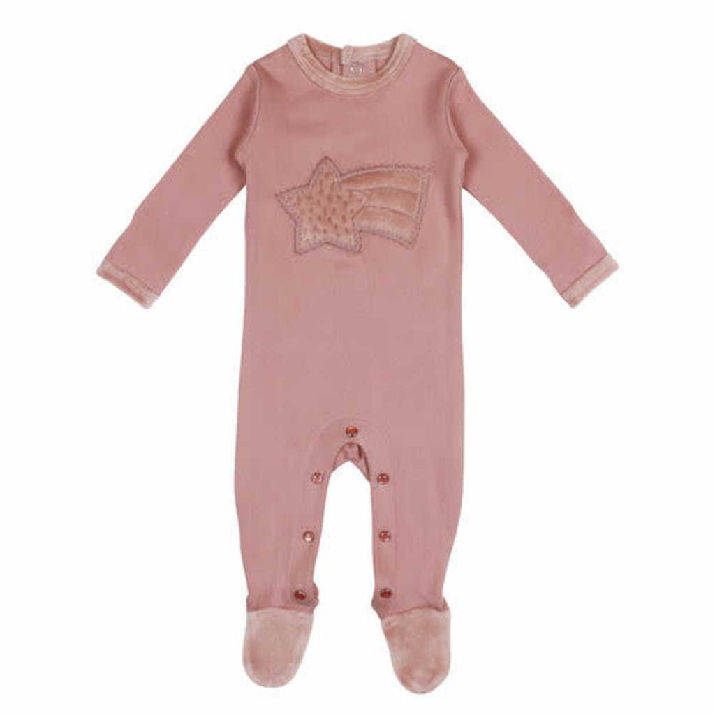 L'oved Baby L'oved Baby | Velveteen Graphic Footie Mauve