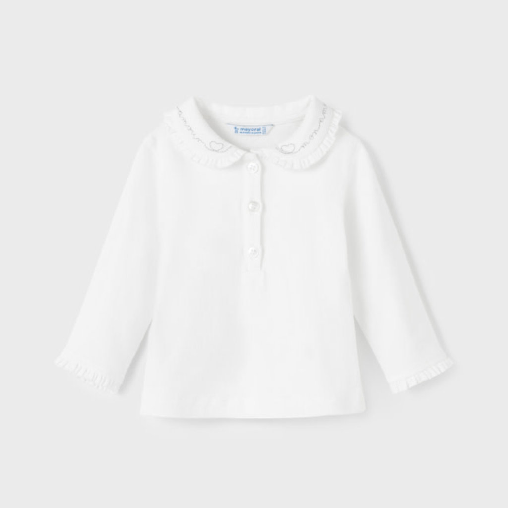 Mayoral   Ruffle Collar Polo in White