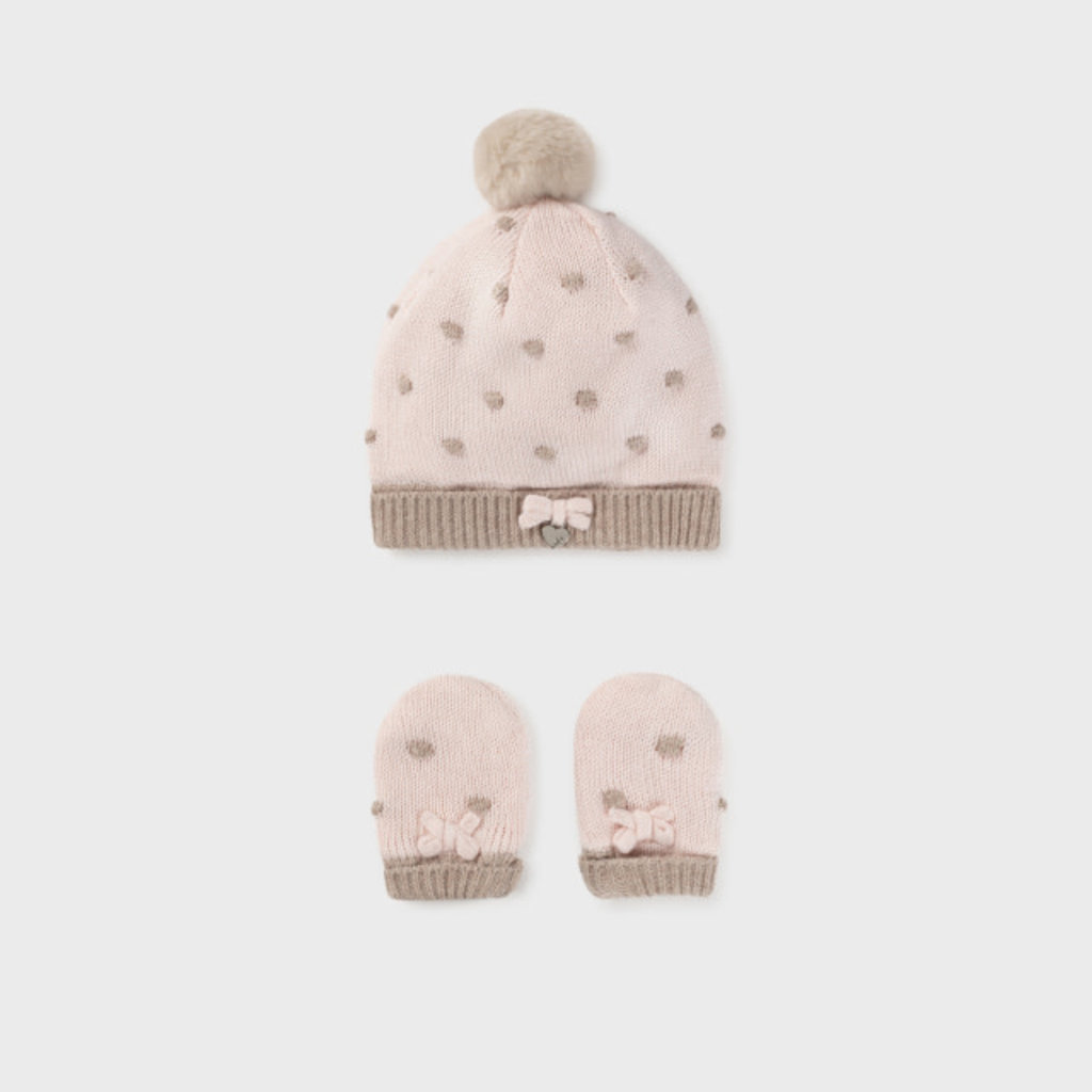 Mayoral Mayoral   Baby Hat and Mitten Set Rosa