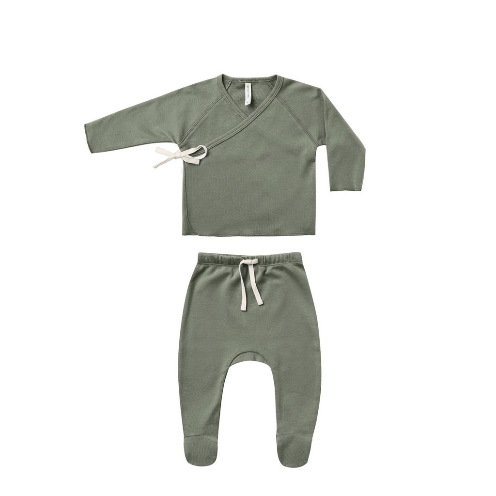 Quincy Mae Quincy Mae   Wrap Top + Pant Set Basil