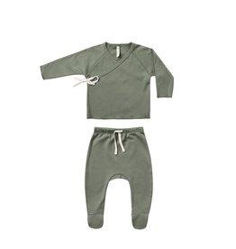 Quincy Mae Quincy Mae | Wrap Top + Pant Set Basil