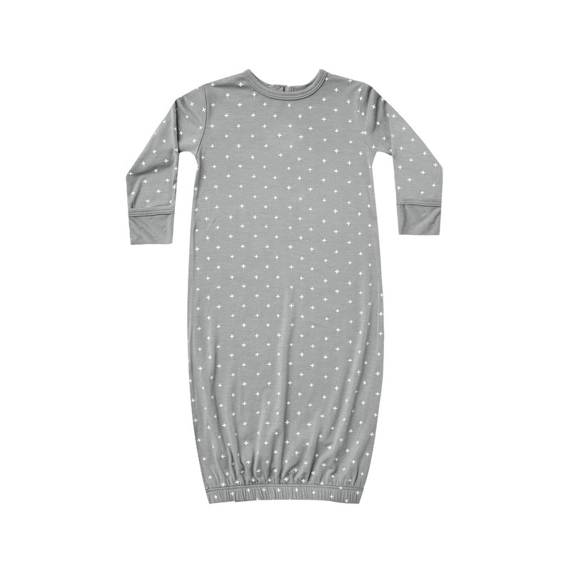 Quincy Mae Quincy Mae | Bamboo Baby Gown Dusty Blue 0-3 mos