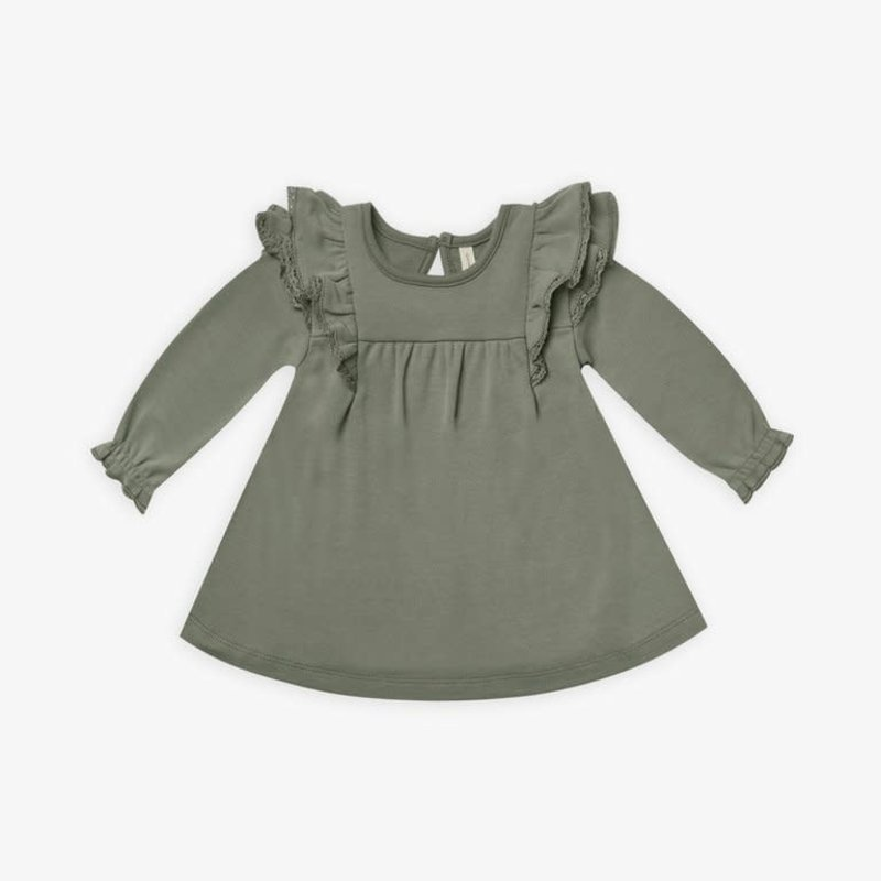 Quincy Mae Quincy Mae | Long Sleeve Flutter Dress Basil