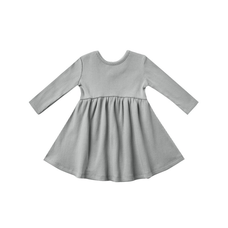 Quincy Mae Quincy Mae | Ribbed Longsleeved Baby Dress Dusty Blue