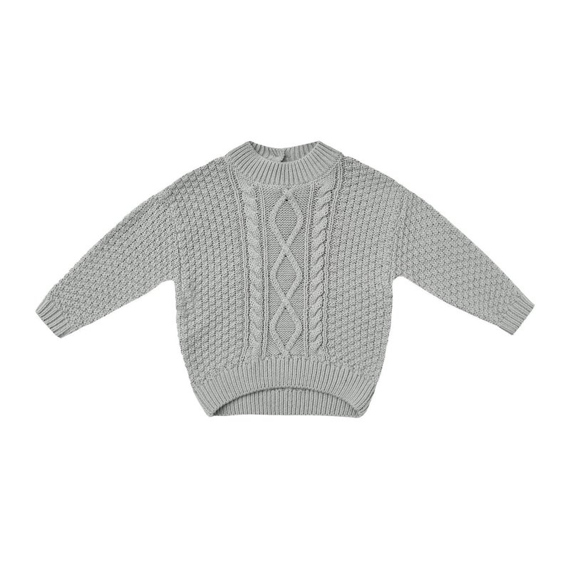 Quincy Mae Quincy Mae | Cable Knit Baby Sweater Dusty Blue