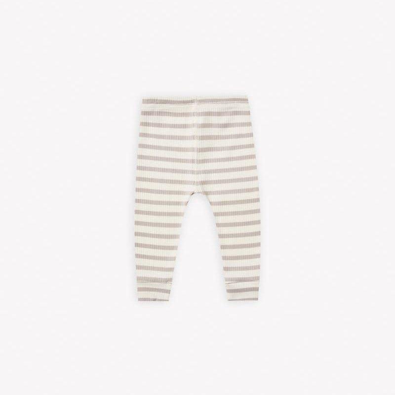 Quincy Mae Quincy Mae | Ribbed Baby Legging Ash Stripe