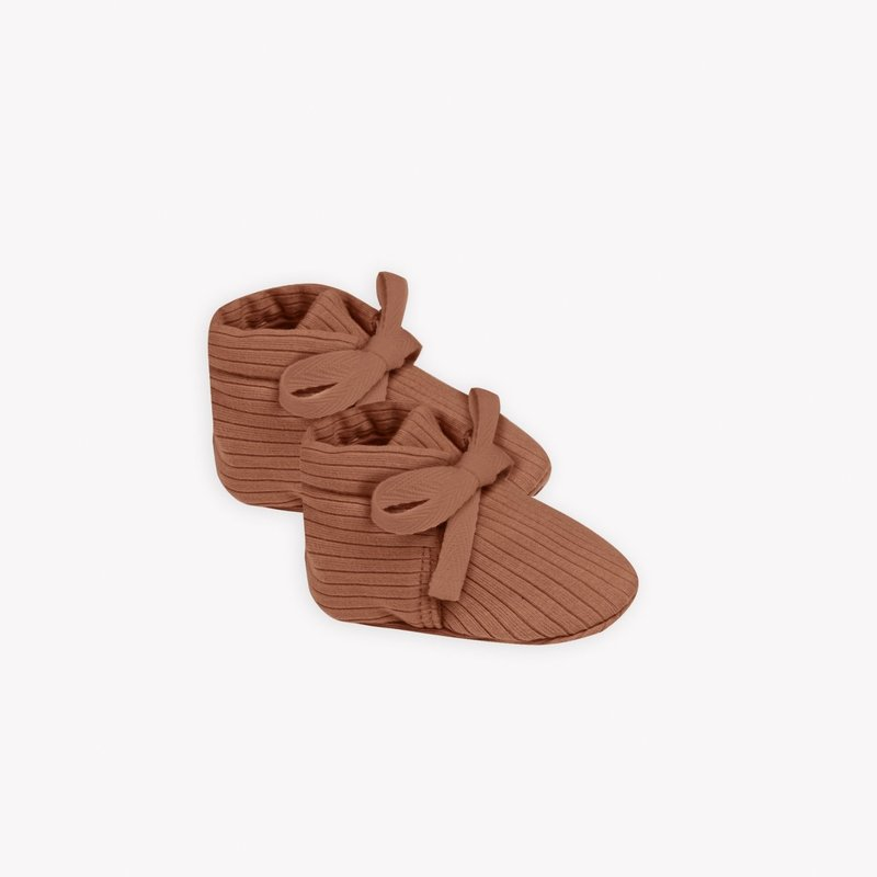 Quincy Mae Quincy Mae | Ribbed Baby Booties Clay