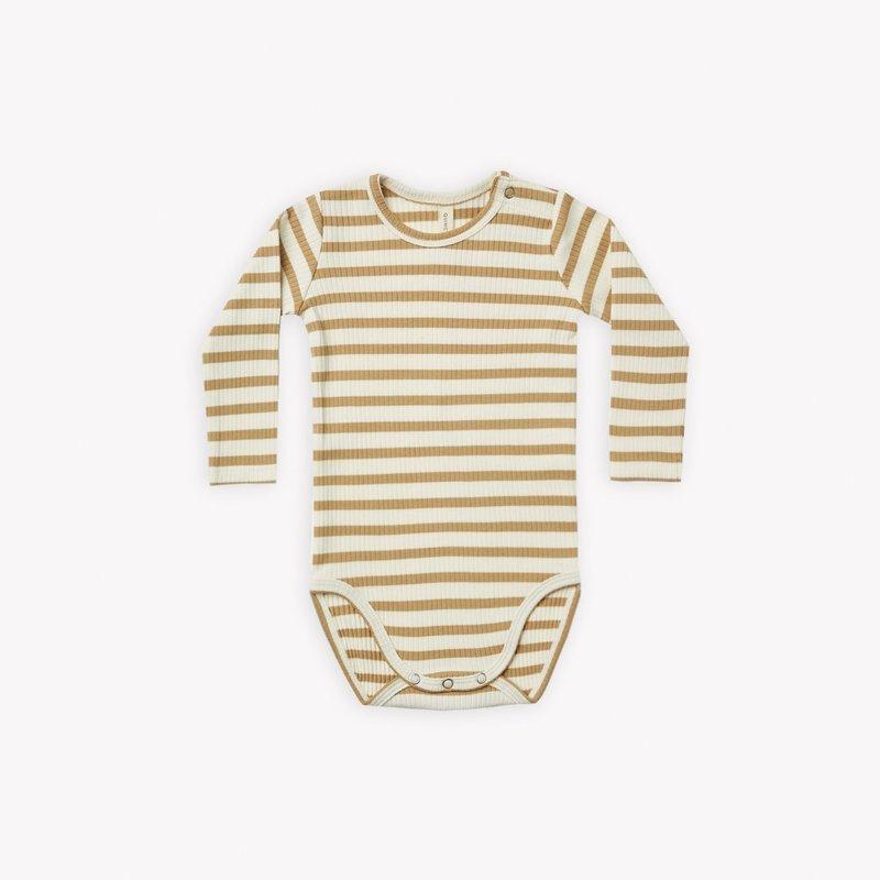 Quincy Mae Quincy Mae | Ribbed Longsleeve Bodysuit Honey Stripe