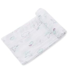 Angel Dear Bamboo Muslin Swaddle Blanket in Happy Unicorn