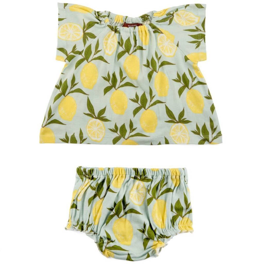 Milkbarn Kids Milkbarn |  Lemons Dress & Bloomer Set (Organic)