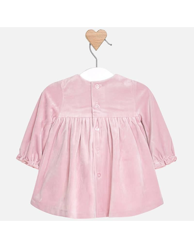 Mayoral Mayoral   Smocked Mauve Velvet Baby Dress