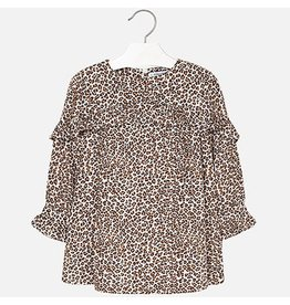 Mayoral Mayoral |Leopard Print Ruffle Dress