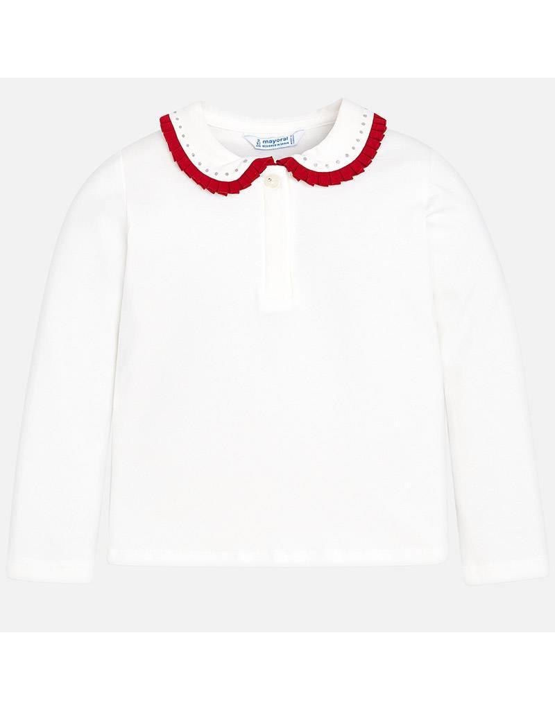 Mayoral Mayoral | Contrast Ruffle Collar Polo Shirt