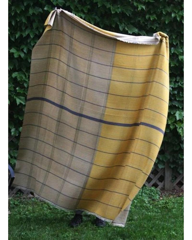 Goldfinch Windowpane Cashmere Throw