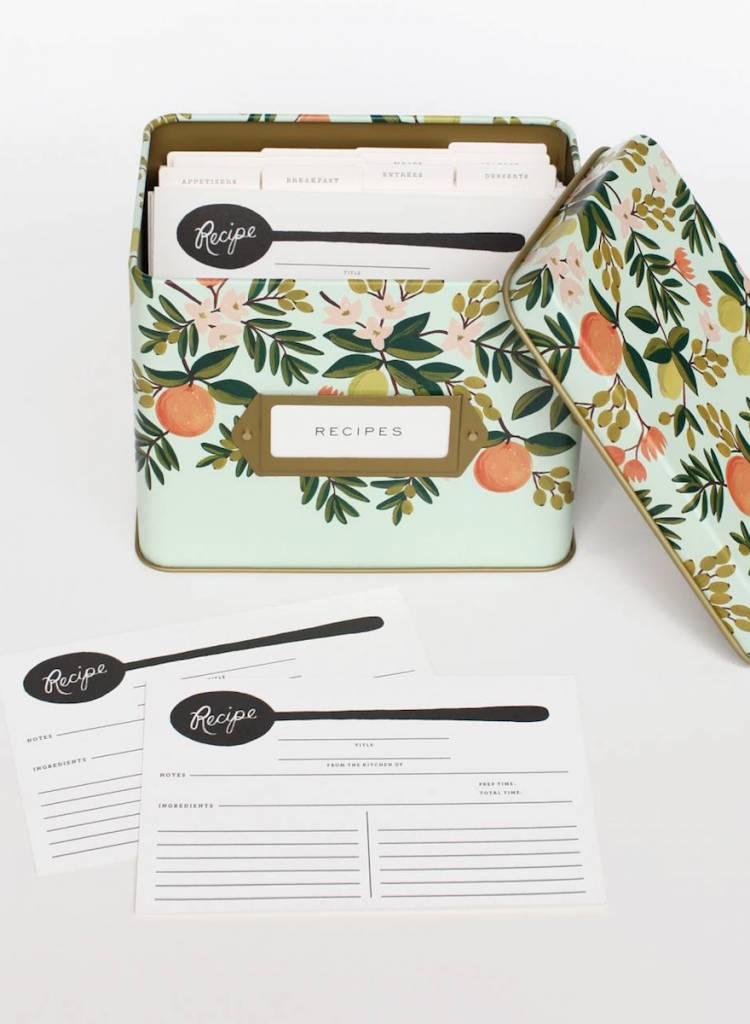 Rifle Citrus Floral Tin Recipe Box-1