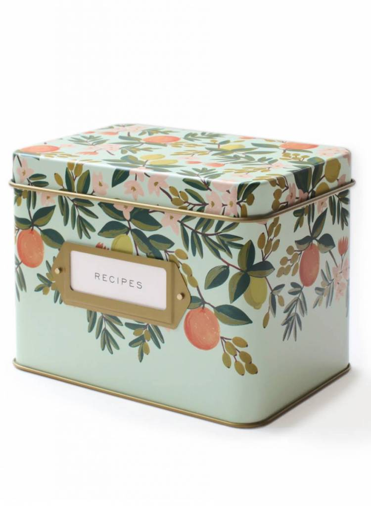 Rifle Citrus Floral Tin Recipe Box-3