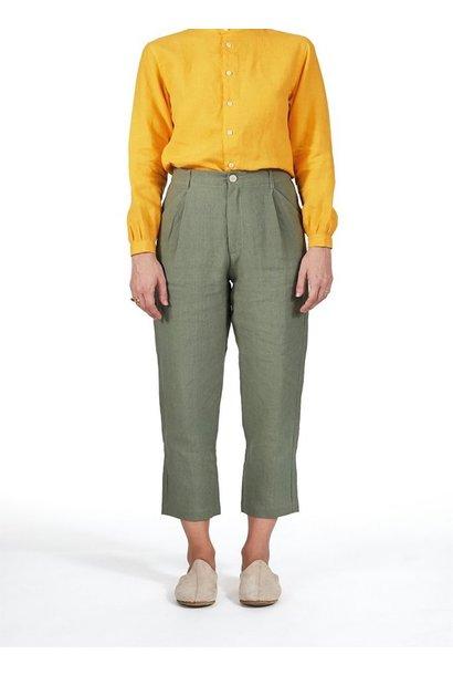 Single-Pleat Linen Pant