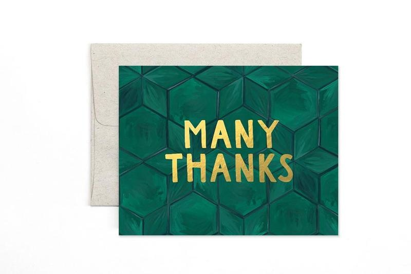 One Canoe 2 Greeting Card Green Tile Thanks-1