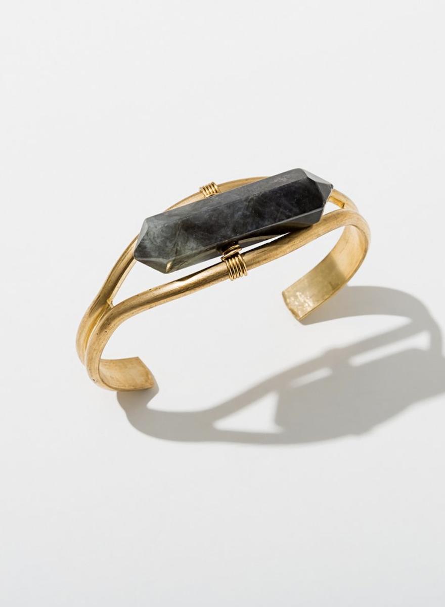 Crystal Cuff Labradorite Bracelet-1