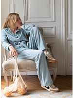 Lalide à Paris Claire Blue Velvet Pajamas Set