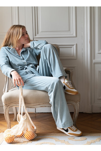 Claire Blue Velvet Pajamas Set