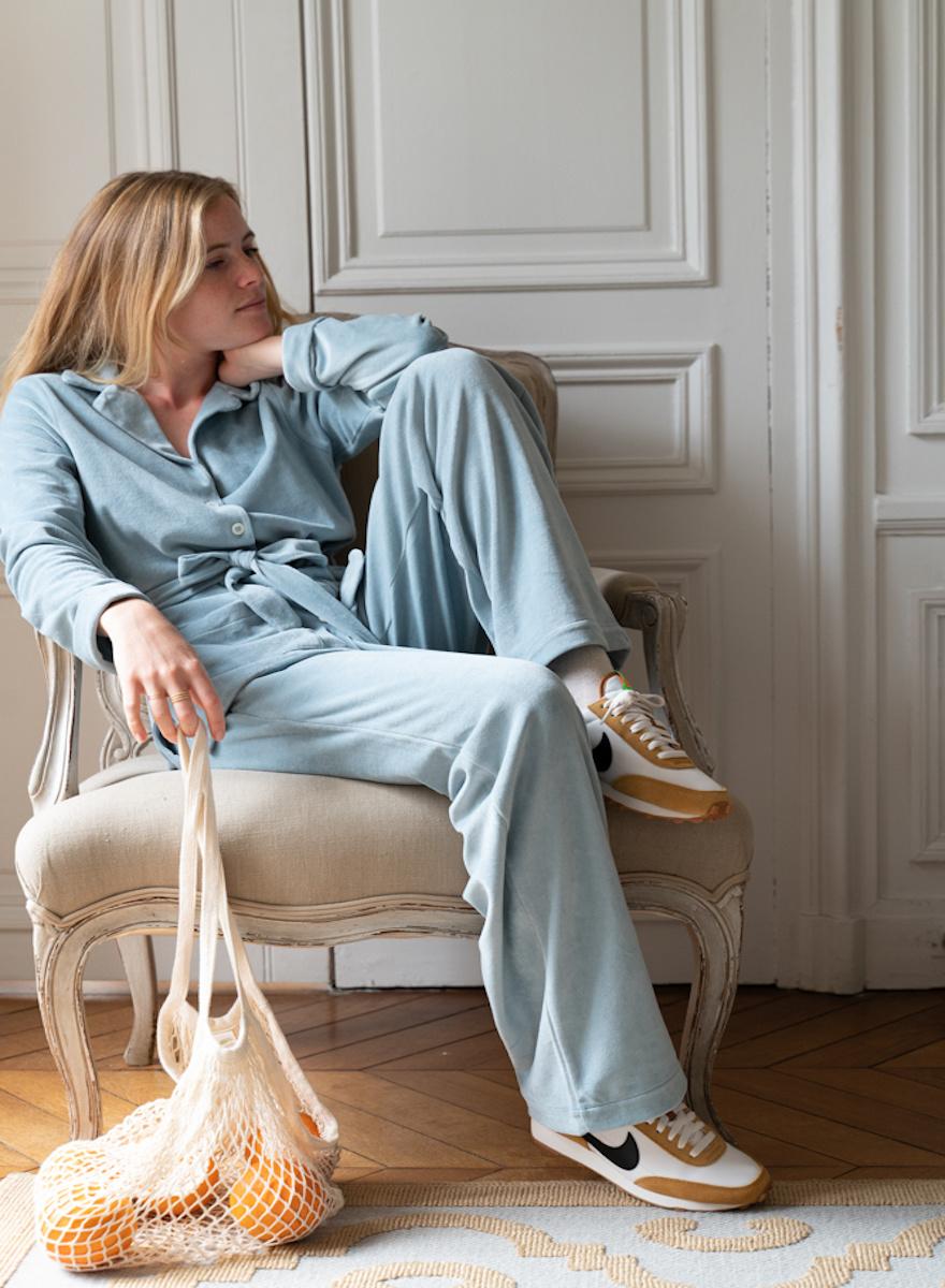Claire Blue Velvet Pajamas Set-1