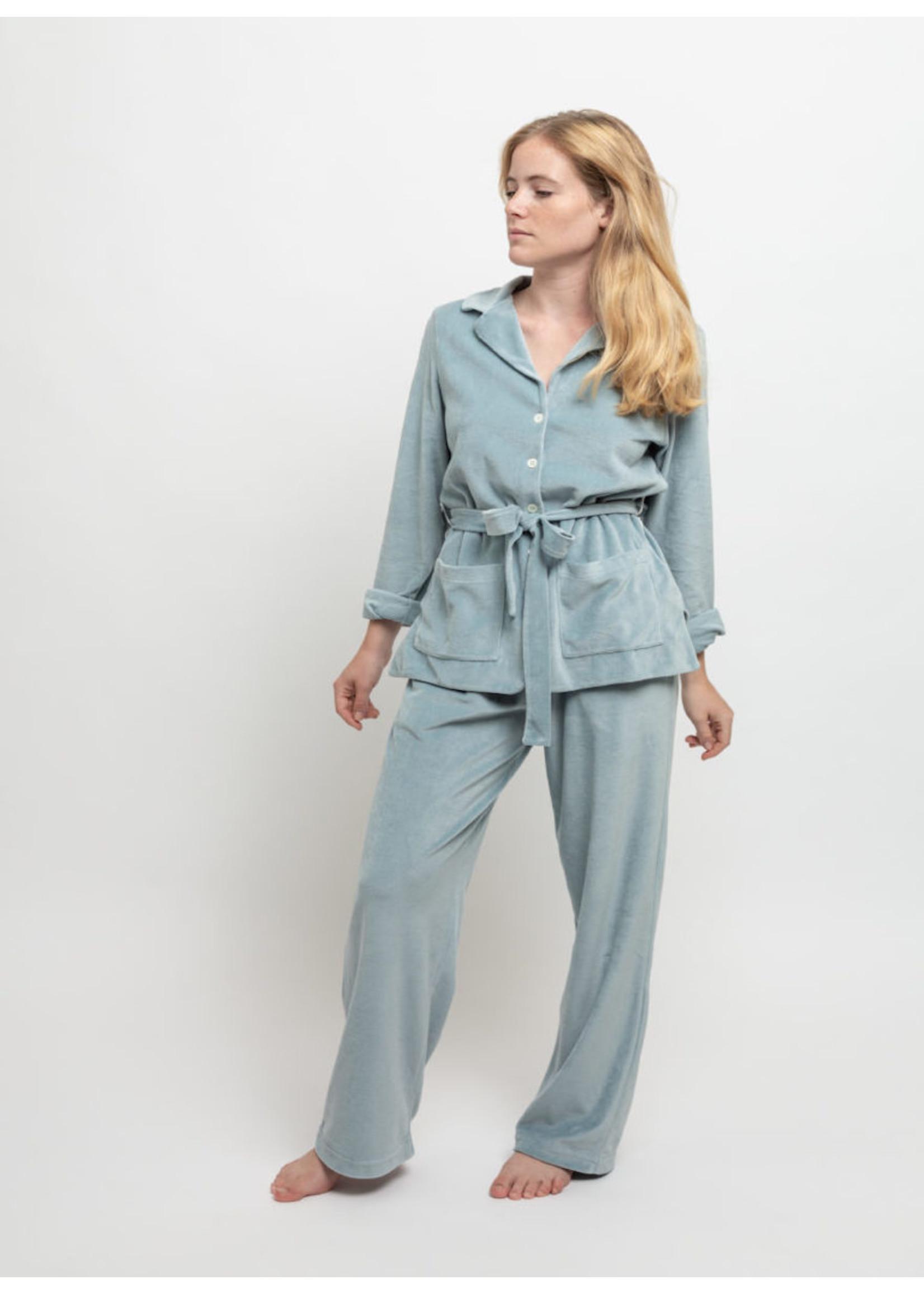 Lalide à Paris Claire Blue Velvet Pajamas Set