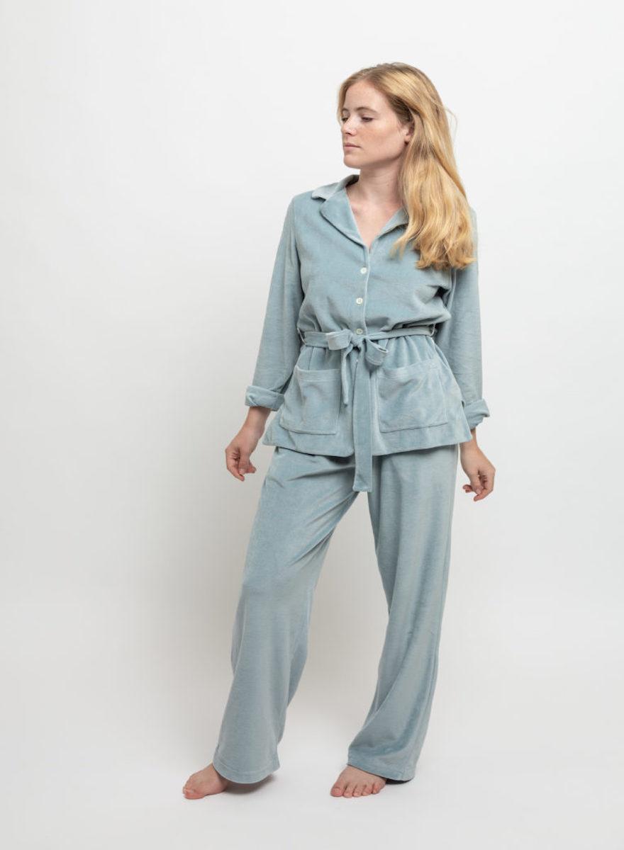 Claire Blue Velvet Pajamas Set-3