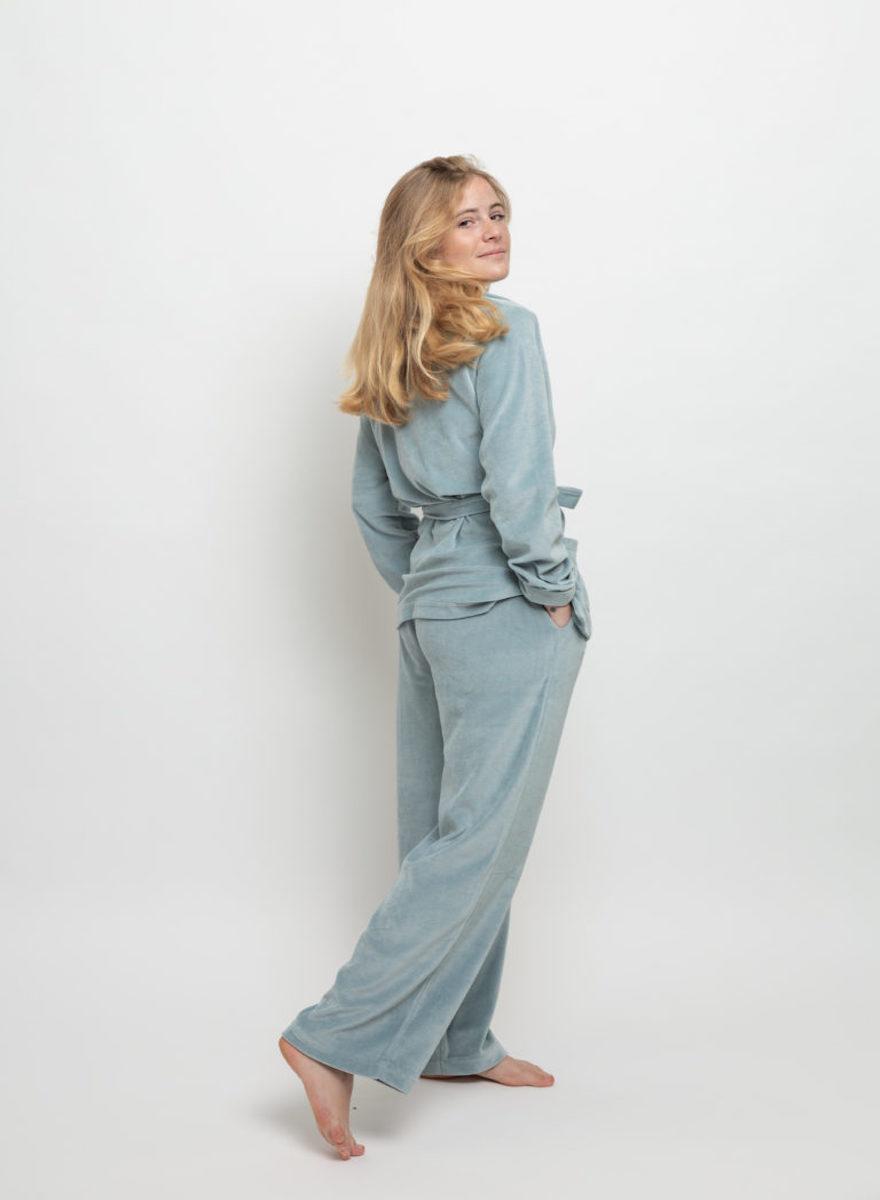 Claire Blue Velvet Pajamas Set-4