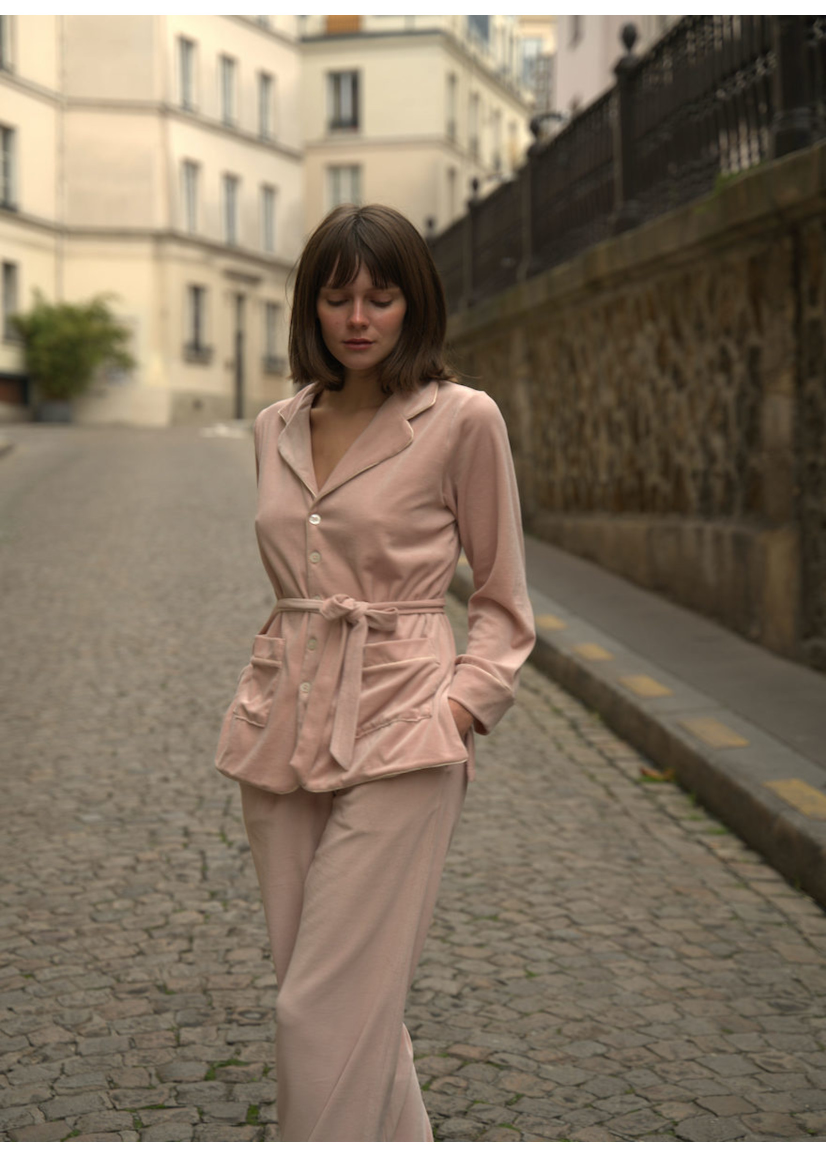 Lalide à Paris Carla Pink Velvet Pajamas Set