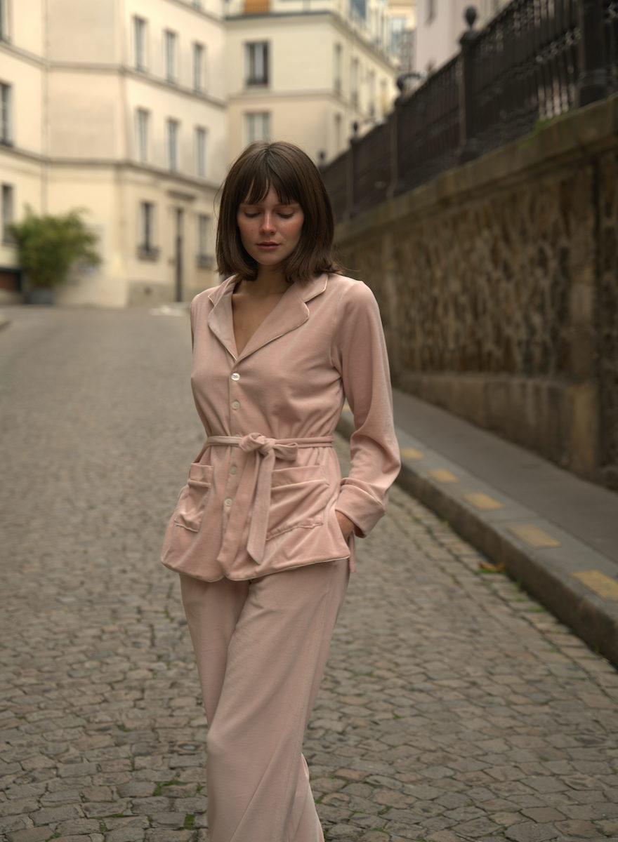 Carla Pink Velvet Pajamas Set-2